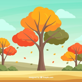 Mooie herfst achtergrond met platte ontwerp