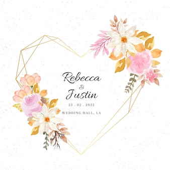 Mooie herfst aquarel bloemen frame