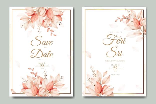 Mooie herfst bruiloft uitnodigingskaart met bloemen bladeren aquarel
