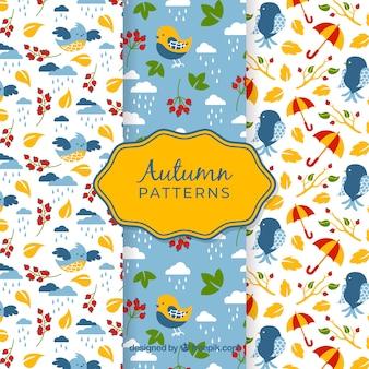 Mooie herfst patroon collectie met platte ontwerp