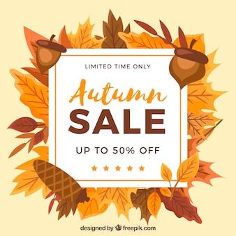 Mooie herfst verkoop compositie met platte ontwerp