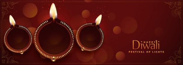 Mooie het festivalbanner van diya gelukkige diwali