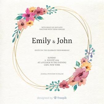 Mooie het huwelijksuitnodiging van het waterverf bloemenkader
