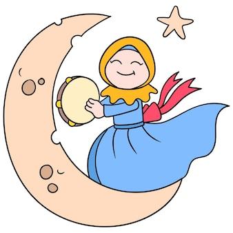 Mooie hijab moslimvrouwen dansen op de maan, vectorillustratiekunst. doodle pictogram afbeelding kawaii.