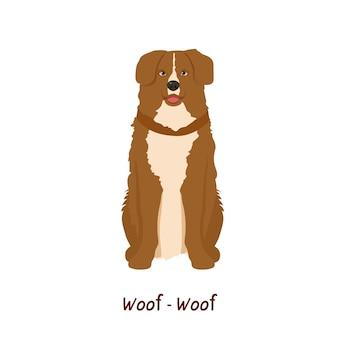 Mooie hond zitten. vector geïsoleerd op een witte achtergrond