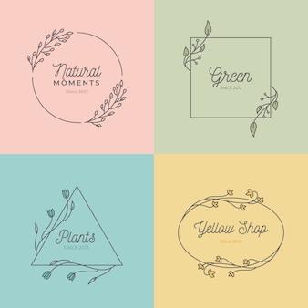 Mooie huwelijksmonogrammen in geplaatste pastelkleuren