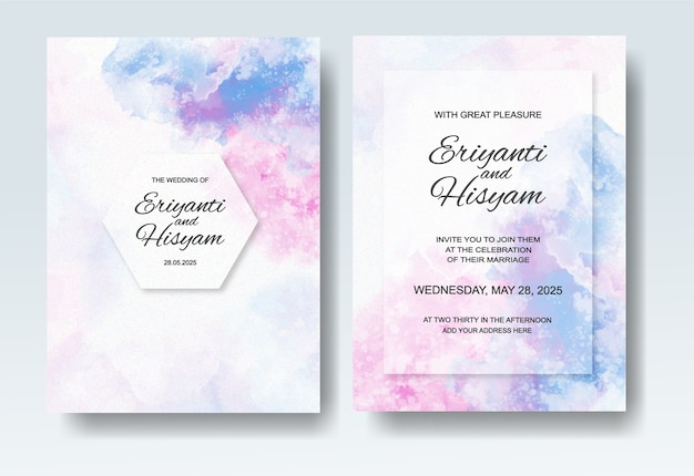 Mooie huwelijksuitnodiging met abstracte plonswaterverf