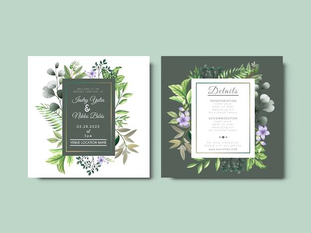 Mooie huwelijksuitnodiging met artistiek bloemenconcept