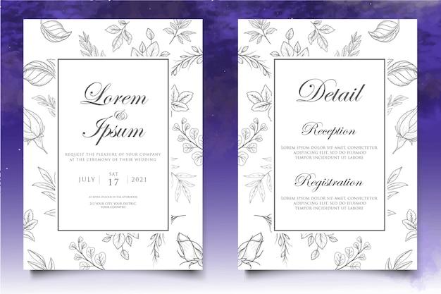Mooie huwelijksuitnodiging met bloemenelementenachtergrond