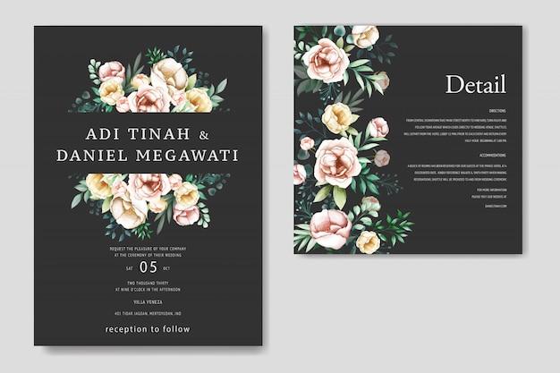 Mooie huwelijksuitnodiging met bloemenframe
