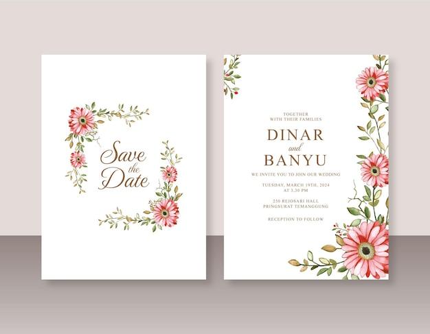 Mooie huwelijksuitnodiging met bloemenwaterverf