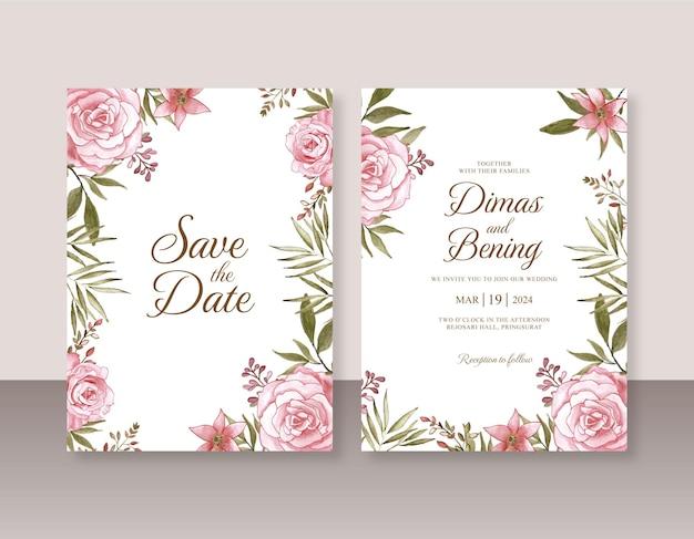 Mooie huwelijksuitnodiging met bloemenwaterverfschilderij