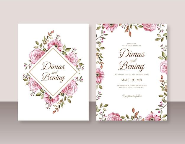 Mooie huwelijksuitnodiging met handgeschilderde bloemenaquarel
