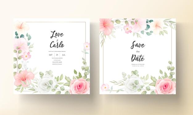 Mooie huwelijksuitnodiging met prachtige bloemen