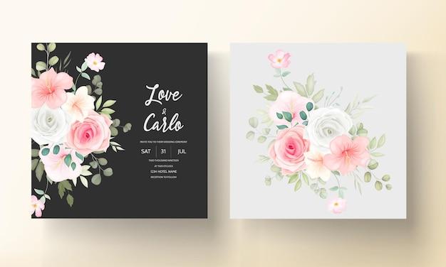 Mooie huwelijksuitnodiging met prachtige bloemen Gratis Vector