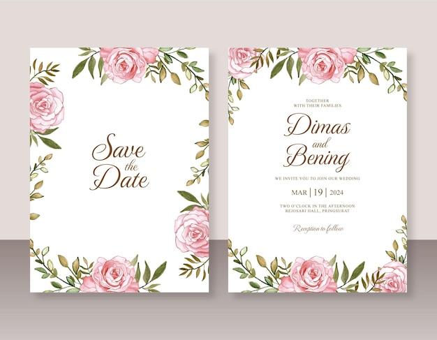 Mooie huwelijksuitnodiging met rozenwaterverfschilderij