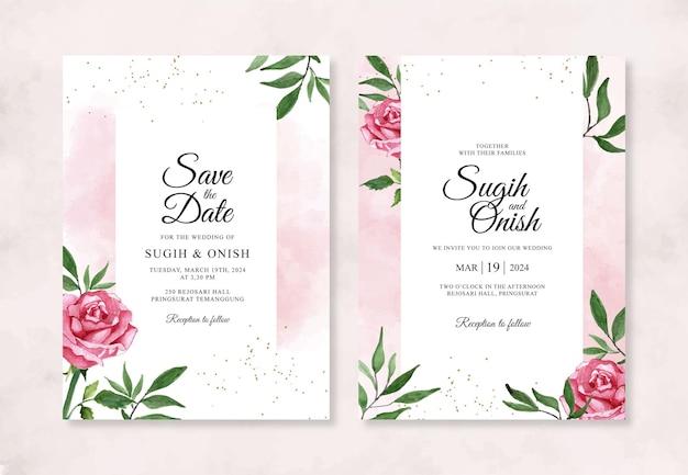 Mooie huwelijksuitnodiging met waterverf bloemen
