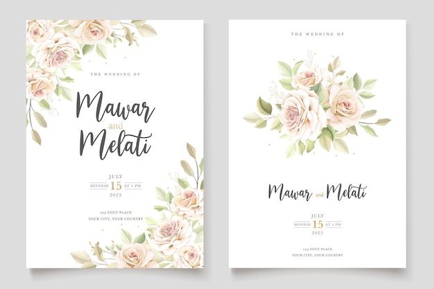 Mooie huwelijksuitnodigingskaart met elegante bloemenset
