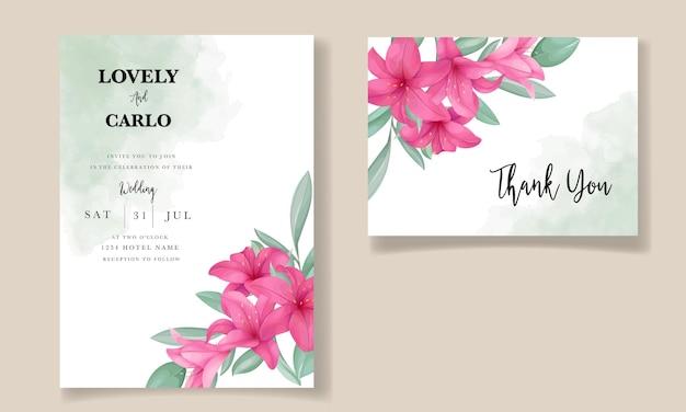 Mooie huwelijksuitnodigingskaart met elegante handgetekende leliebloem Premium Vector