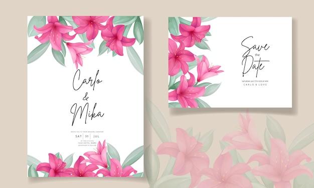 Mooie huwelijksuitnodigingskaart met elegante handgetekende leliebloem