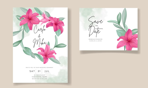 Mooie huwelijksuitnodigingskaart met elegante handgetekende leliebloem Gratis Vector