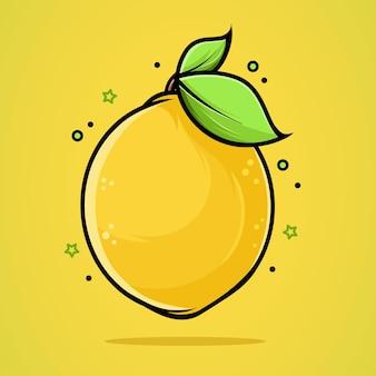 Mooie illustratie van een verse citroen in hoge kwaliteit en schaduwen