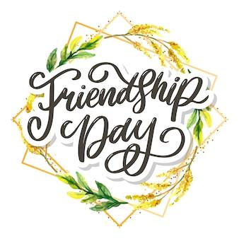 Mooie illustratie van gelukkige dag van de vriendschap, versierd wenskaart.