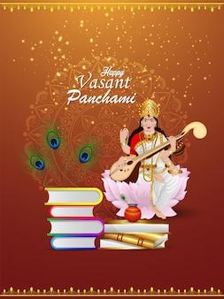 Mooie illustratie van godin saraswati met creatief element en achtergrond