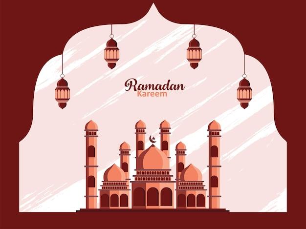 Mooie illustratie van moskee- of lantaarnfanus met minimale achtergrond premium vector