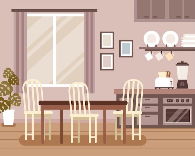 Mooie interieurscène, eetkamer en keukendecoraties in