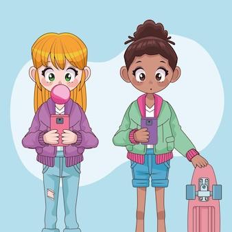 Mooie interraciale tieners meisjes koppelen anime karakters illustratie
