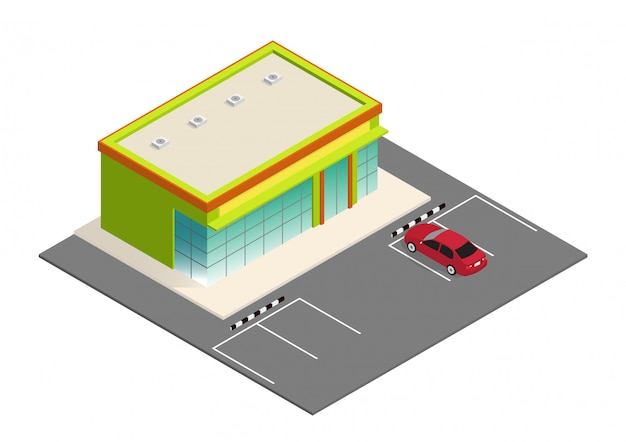Mooie isometrische supermarkt