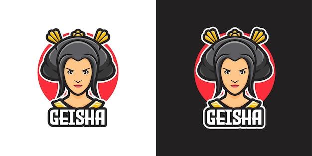 Mooie japanse vrouw geisha mascotte karakter logo sjabloon