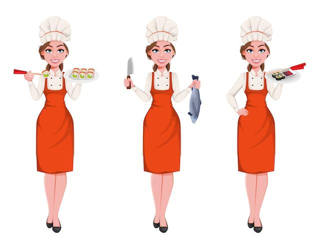 Mooie jonge chef-kok vrouw, set van drie poses