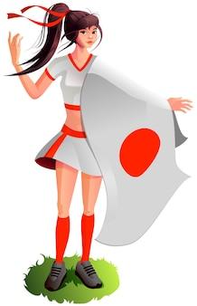Mooie jonge japanse vrouw met de vlag van japan cheerleader-meisje steunt het nationale team