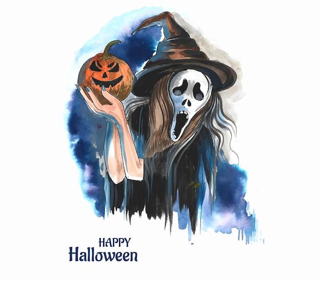 Mooie jonge verraste vrouw met halloween-maskerachtergrond