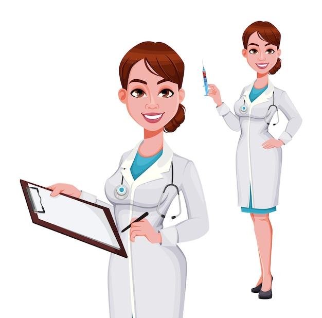 Mooie jonge vrouw arts klembord houden en spuit te houden