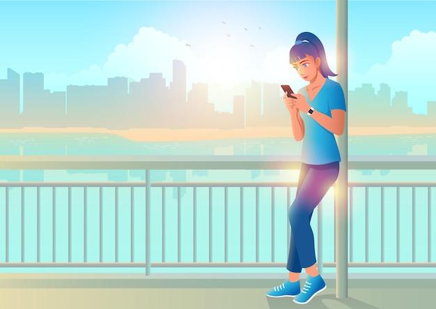 Mooie jonge vrouw chatten via mobiele telefoon over kust achtergrond vector cartoon in eps-10