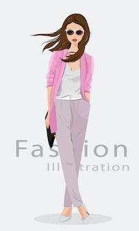 Mooie jonge vrouw die manierkleren, glazen en met zak draagt. model. illustratie.