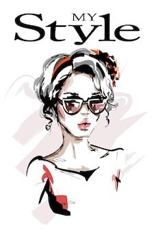 Mooie jonge vrouw in zonnebrilillustratie