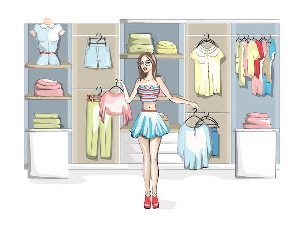 Mooie jonge vrouw kleren kiezen bij een kledingwinkel. schoonheid en mode. moeilijke keuze. illustratie
