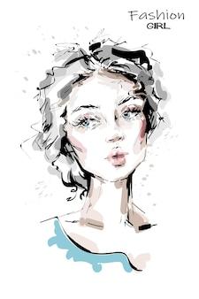 Mooie jonge vrouw met blauwe ogen.