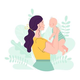 Mooie jonge vrouw met een baby