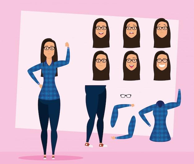 Mooie jonge vrouw met glazen set gezichten karakter vector illustratie ontwerp