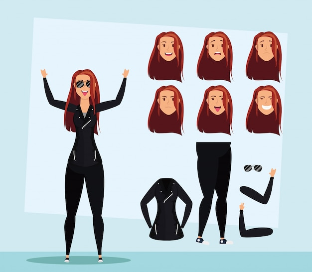 Mooie jonge vrouw met zonnebril set gezichten karakter vector illustratie ontwerp