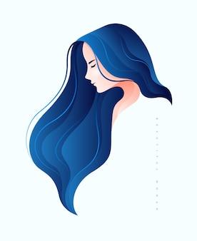 Mooie jonge vrouw zijgezicht met lang blauw haar
