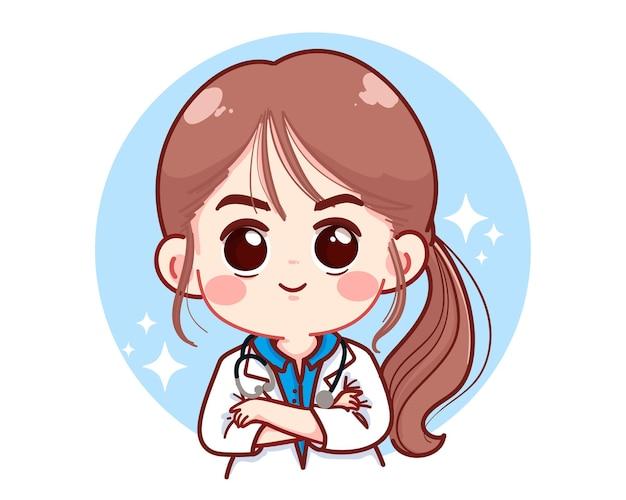 Mooie jonge vrouwelijke arts gekruiste armen cartoon afbeelding
