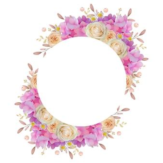 Mooie kaderachtergrond met bloemen roze hortensia en roze bloemen