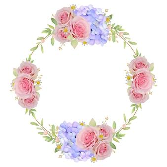 Mooie kaderachtergrond met bloemen roze rozen en hortensia