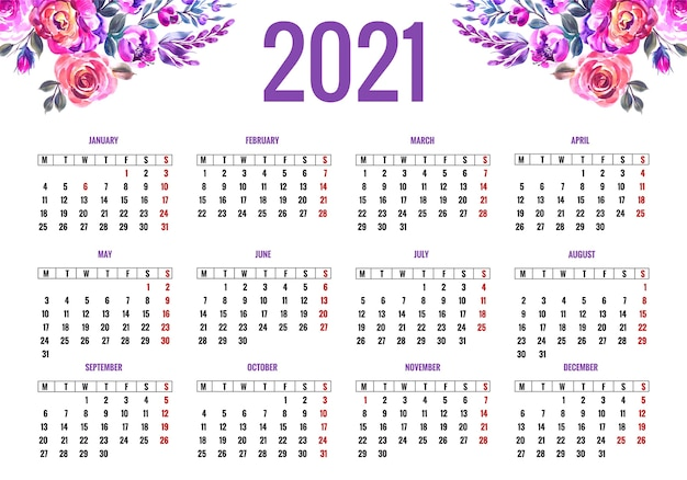 Mooie kalender 2021 voor kleurrijk bloemdessin